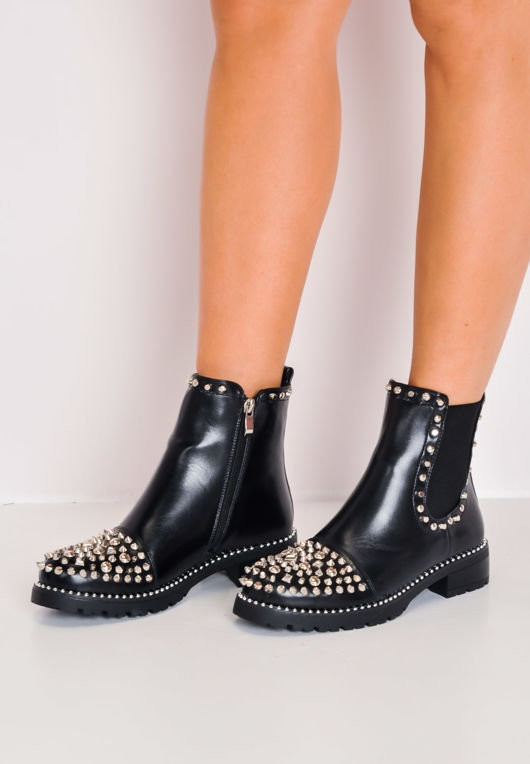 7cf3878402a Studded Faux Leather Chelsea Ankle Boots Black