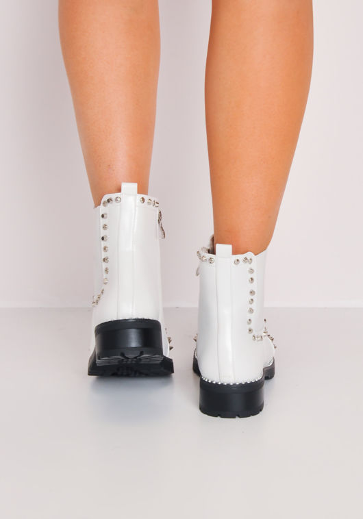 Studded Faux Leather Chelsea Ankle Boots White