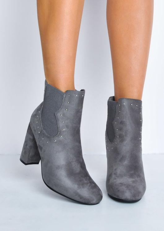 Studded Faux Suede Block Heel Ankle Boots Grey