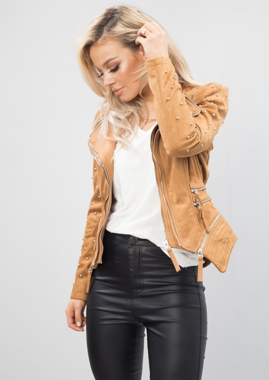 Studded Faux Suede Jacket Camel
