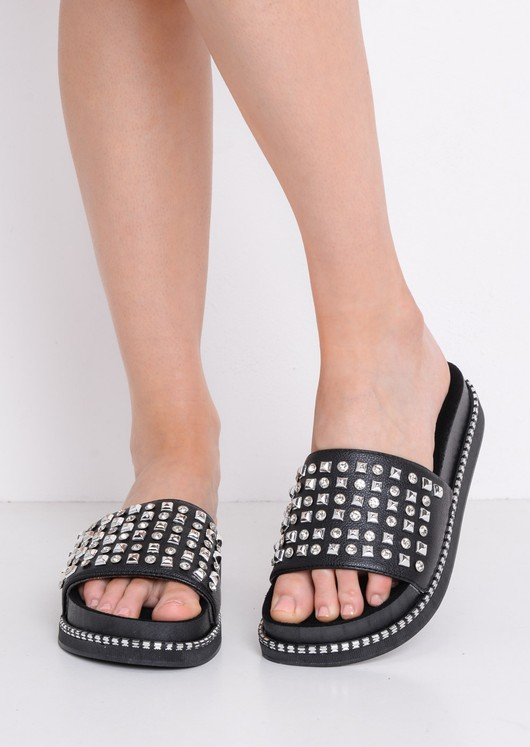 Studded Flatform Sliders Black