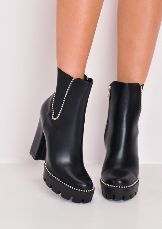 Studded Heeled Chelsea Ankle Boots Black