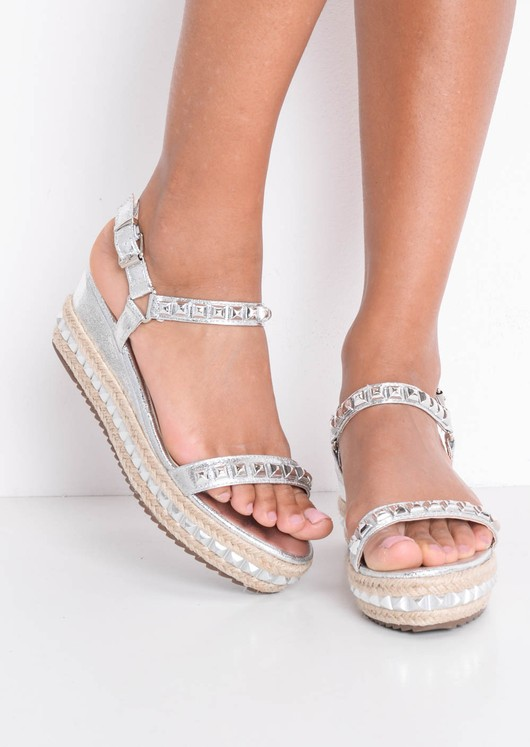 Studded Metallic Braided Flatform Espadrille Sandals Silver