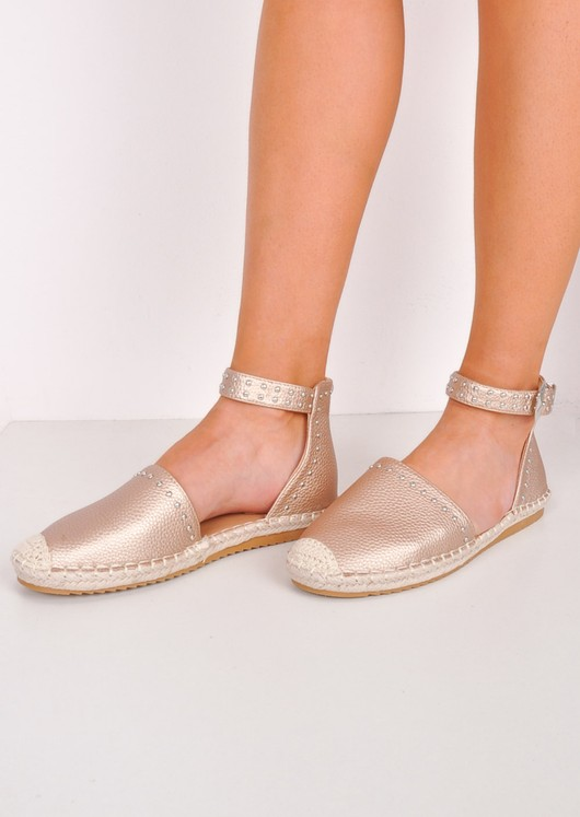 Studded Metallic Espadrille Flats Gold