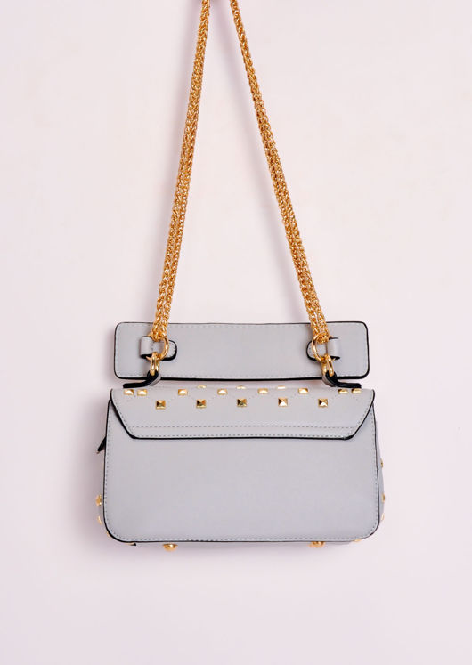 Studded Mini Shoulder Bag Grey