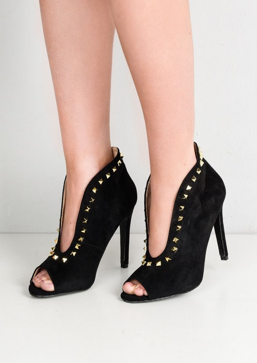 Studded Pointy V Front Faux Suede Stiletto Heeled Boots Black