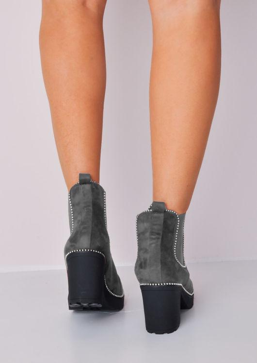 Studded Platform Chelsea Ankle Boots Grey