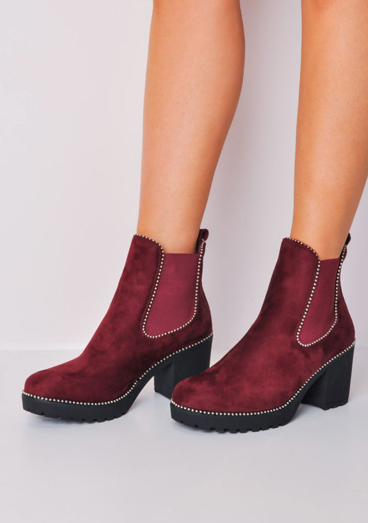 Studded Platform Chelsea Ankle Boots Red