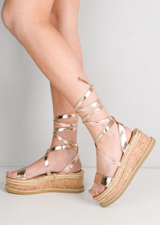 cf5a9974e7 Lace Up Braided Cork Wedge Sandals Rose Gold | Lily Lulu