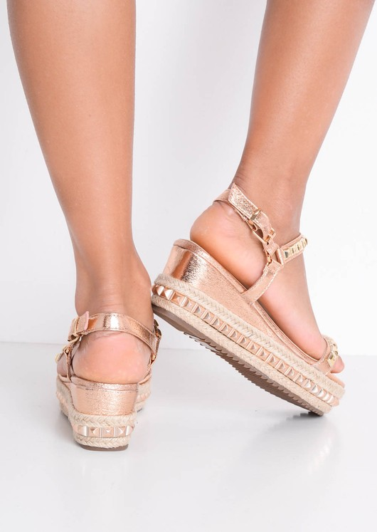 Studded Strappy Wedge Platform Espadrille Sandals Rose Gold