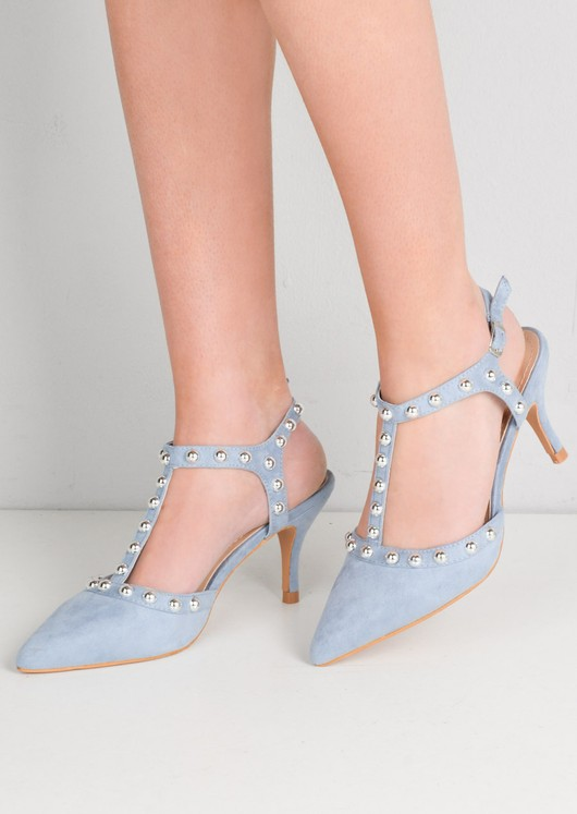 Studded T-Bar Faux Suede Kitten Court Heels Light Blue