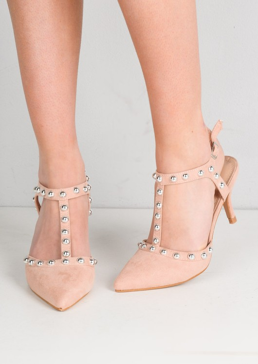 Studded T-Bar Faux Suede Kitten Court Heels Pink