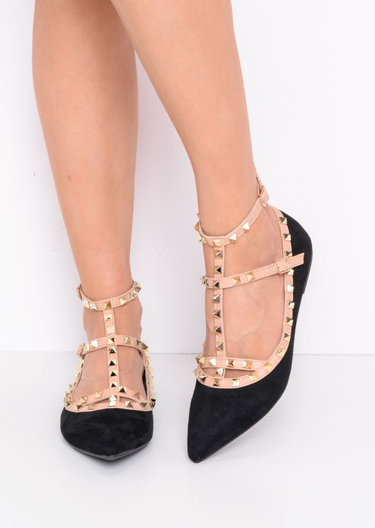 Studded T-Bar Pointed Faux Suede Flats