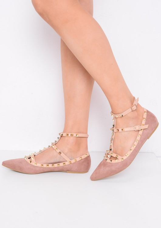 Studded T-Bar Pointed Faux Suede Flats Dusty Pink