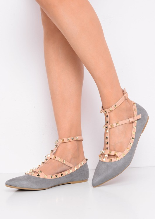 Studded T-Bar Pointed Faux Suede Flats Grey