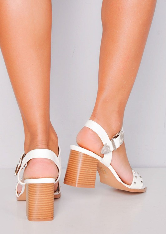 Studded Western Style Strappy Block Heel Sandals White