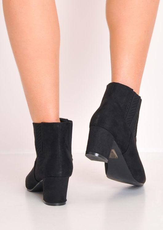 Suede Block Mid Heel Pointed Chelsea Ankle Boot Black