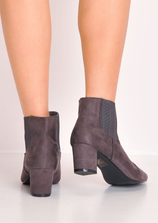 Suede Block Mid Heel Pointed Chelsea Ankle Boots Grey