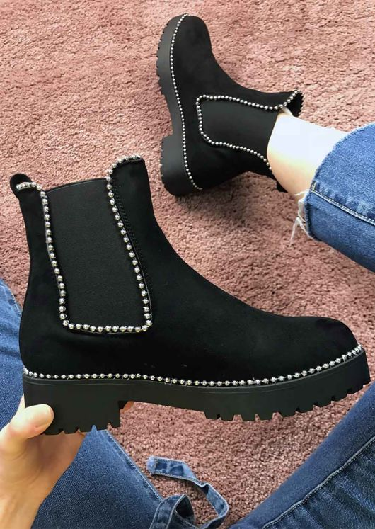 2c14353bca29b Suede Cleated Chunky Studded Chelsea Ankle Boots Black