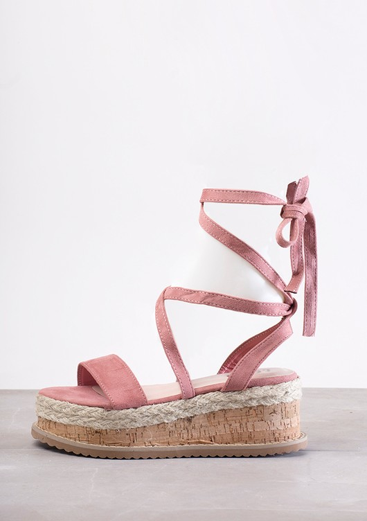Suede Lace Up Braided Cork Wedge Flat Espadrille Sandals Blush Pink