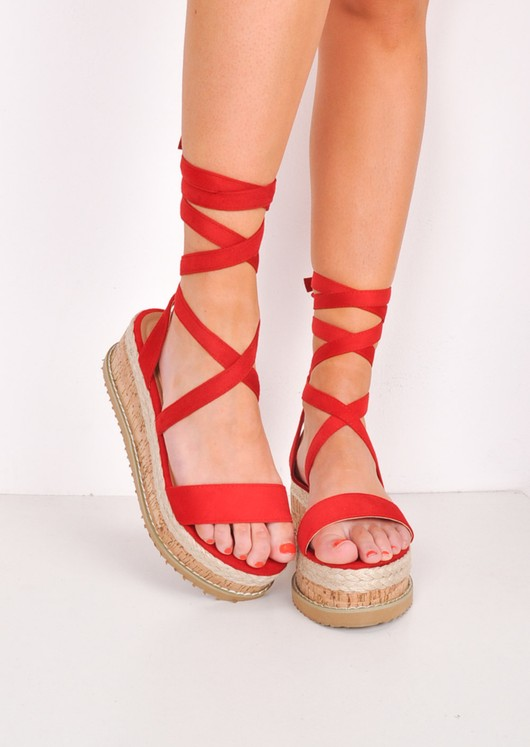 b33fbb26b19 Suede Lace Up Braided Cork Wedge Sandals Red