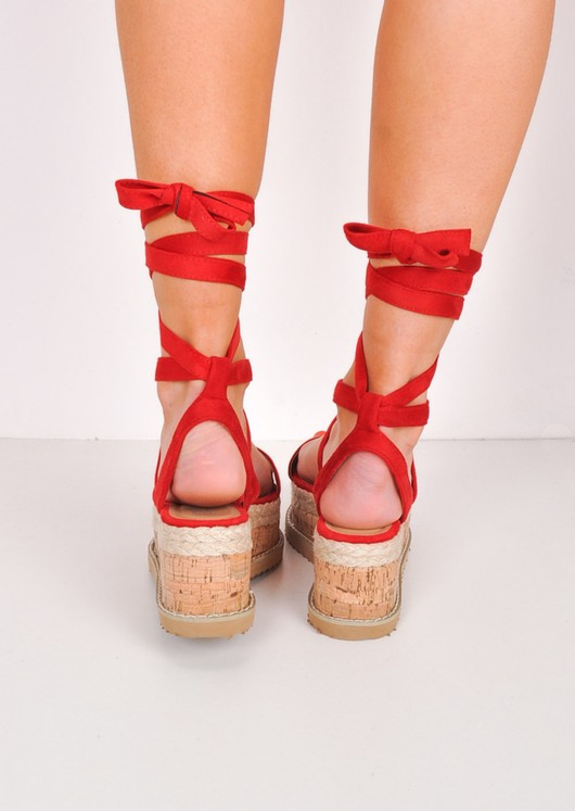 Suede Lace Up Braided Cork Wedge Flat Espadrille Sandals Red
