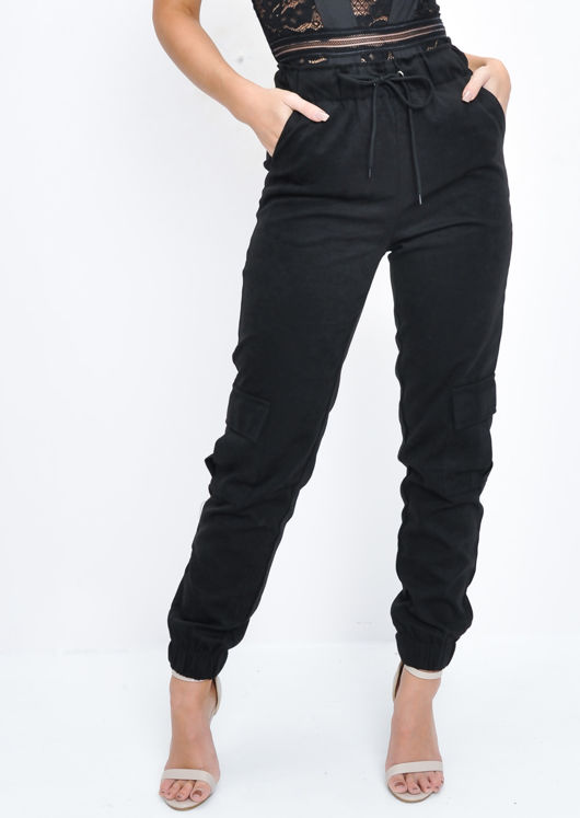 Suede Look Jogger Trousers Black