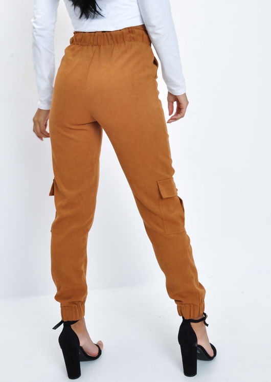 Suede Look Jogger Trousers Camel Brown