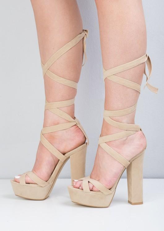 Suede Open Toe Lace Up Platform Sandals Beige