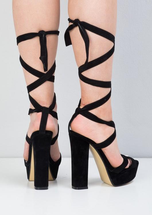 Suede Open Toe Lace Up Platform Sandals Black