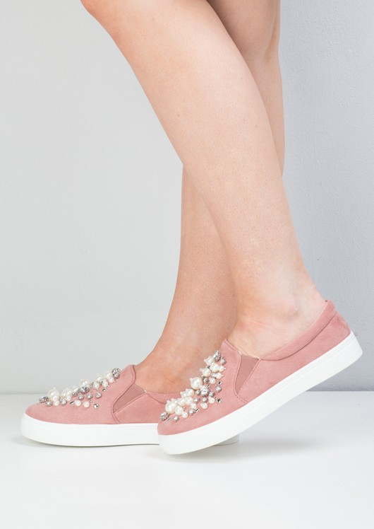 Suede Pearl Embellished Slip On Trainers Dusty Pink