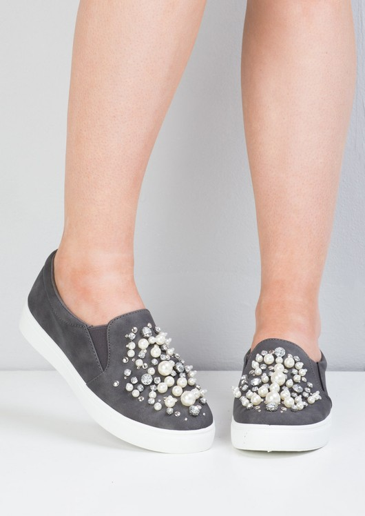 Suede Pearl Embellished Slip On
