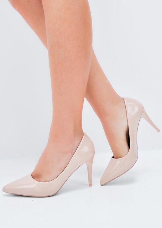 Patent Stiletto Pointed Court Heels Beige