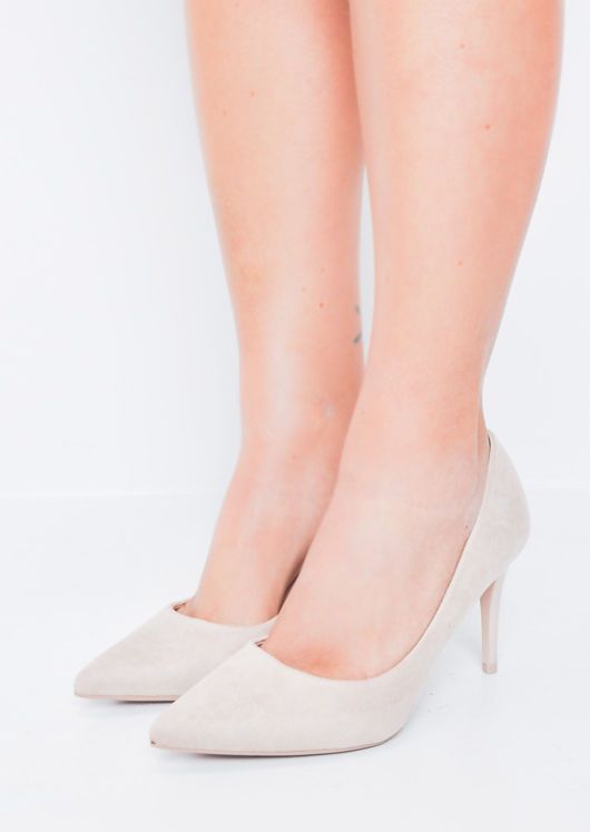Suede Stiletto Pointed Court Heels Nude Beige