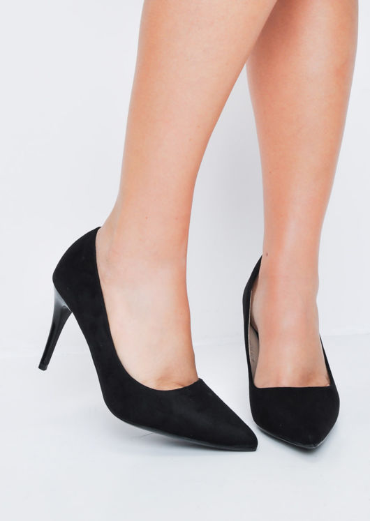 Suede Stiletto Pointed Court Heels Black