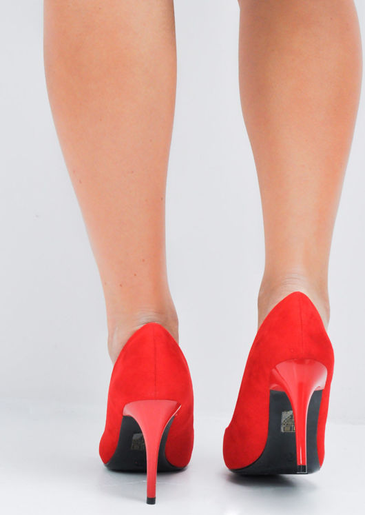 Suede Stiletto Pointed Court Heels Red