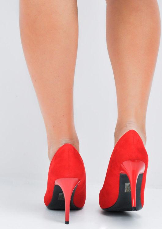Suede Stiletto Pointed Court Heels Red