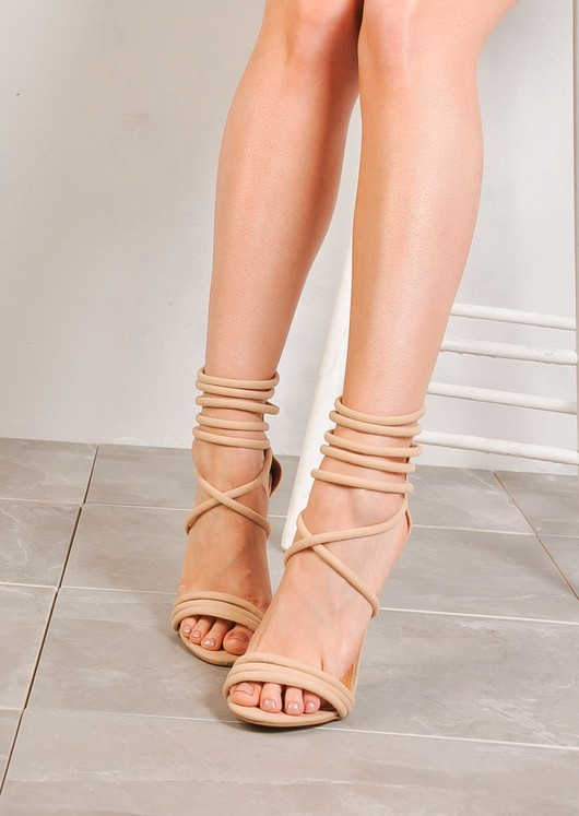 Suede Strappy Stiletto Heels Nude