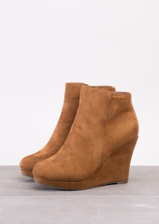 Suede Wedge Ankle Boots Brown