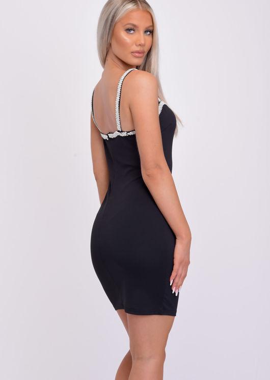 Sweetheart Neck Diamante Strap Mini Bodycon Dress Black