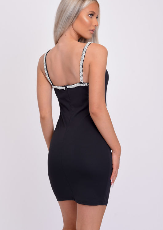 Sweetheart Neck Diamante Strap Mini Bodycon Dress Black