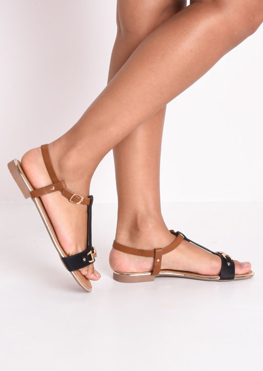 T Bar Gold Detail Flat Sandals Black