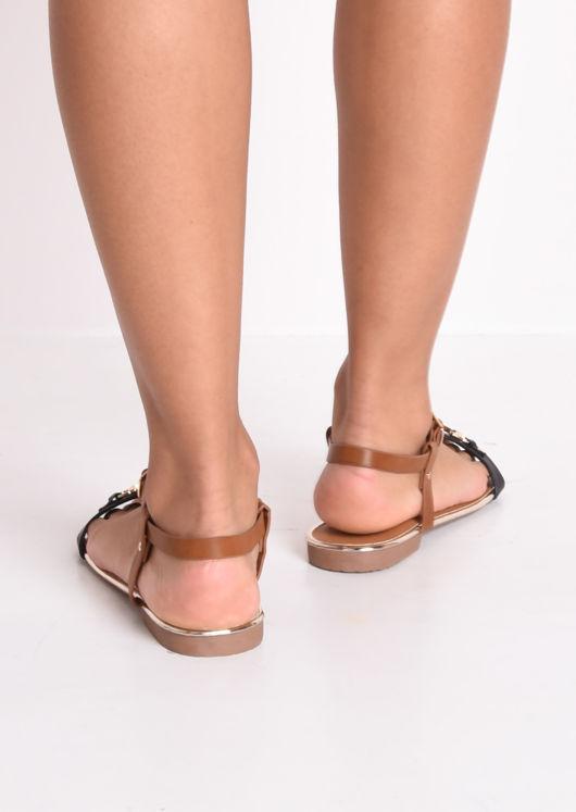 T Bar Gold Detail Flat Sandals Black