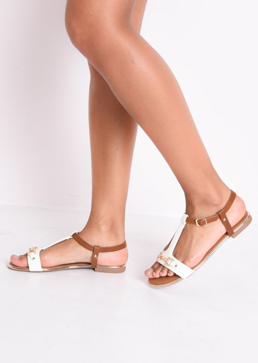 T Bar Gold Detail Flat Sandals White