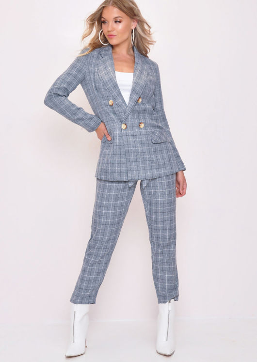 Tailored White Check Blazer Grey