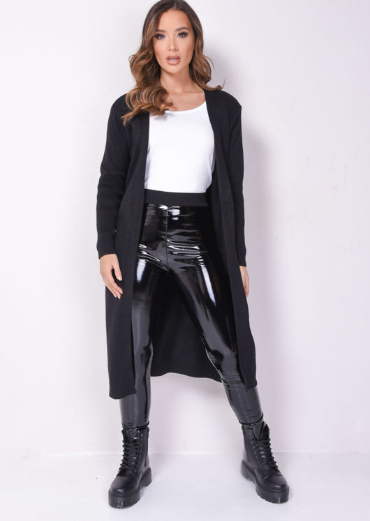 Chunky Rib Knitted Longline Cardigan Black