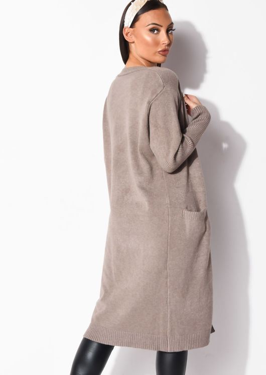 Tall Chunky Rib Knitted Longline Cardigan Brown