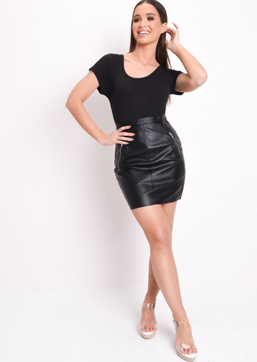Tam Leather Look Mini Skirt Black