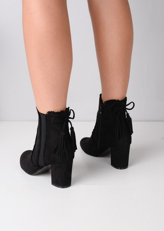 Block Heel Tassel Faux Suede Ankle Boots Black