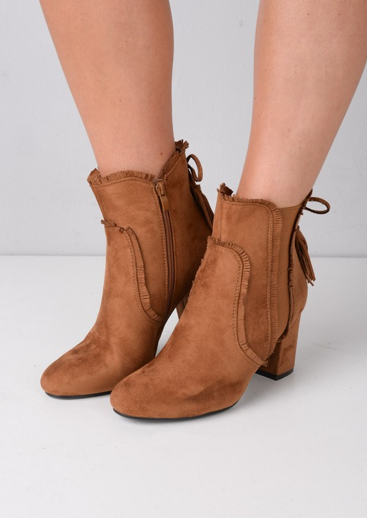 Block Heel Tassel Faux Suede Ankle Boots Camel Brown